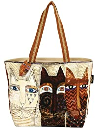 Laurel Burch Shoulder Tote Zipper Top, 19 by 4 by 15-Inch, Ancestral Cats