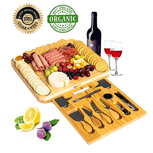 Large Bamboo Cheese Board Set - Wooden Serving Tray and Charcuterie Platter with Two Ceramic Bowls, Hidden Magnetic Drawer, Cheese Knives, Serving Forks, Markers and Wine Accessories