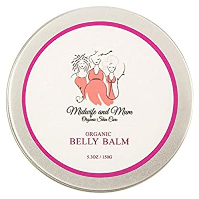 Organic Belly Balm - Shea Butter/Coconut Oil-Tummy Butter to Soothe Dry Itchy Skin - Helps Prevent Stretch Marks - Safe for Babies, Children, Pregnancy & Postpartum - Mom Designed & Midwife Approved