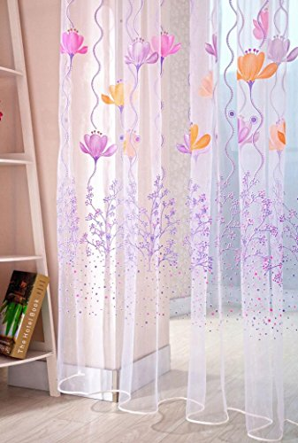 Lotus Sheer Curtain Tulle Window Treatment Voile Drape Valance Panel Fabric  Purple
