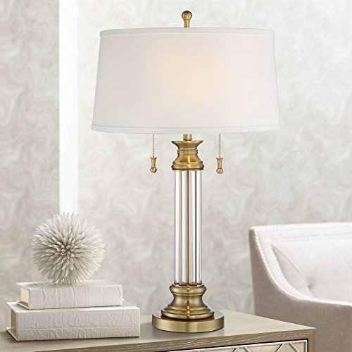 Rolland Traditional Table Lamp Crystal Brass Column Off White Tapered Drum Shade for Living Room Family Bedroom - Vienna Full Spectrum (Lamps Brass Desk Traditional)