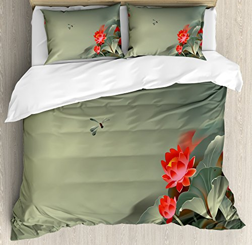 (Ambesonne Dragonfly Duvet Cover Set King Size, Traditional Japanese Painting with Lotus Blooms in Hazy Tones Asian Design, Decorative 3 Piece Bedding Set with 2 Pillow Shams, Red Reseda)