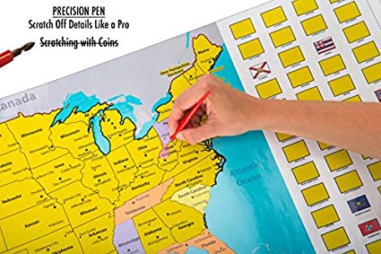 Amazoncom Scratch Off World And US Travel Tracker Map Set See - Scratch off us state maps with pencil 25 pack
