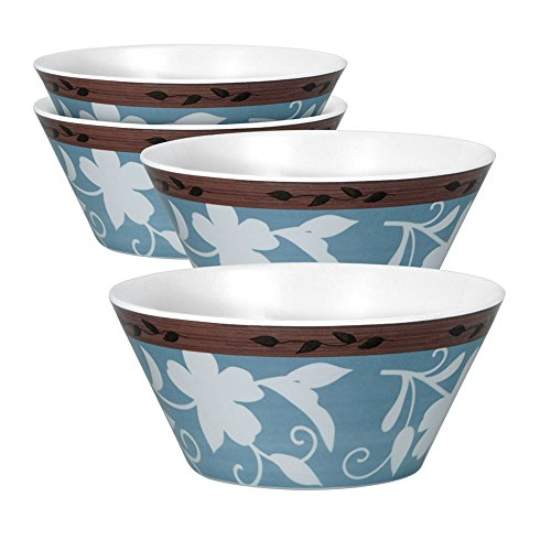 Pfaltzgraff Patio Garden Set Of 4 Melamine Soup Cereal Bowls, 24-Ounce