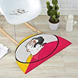 Kabuki Mask Half Round Door mats Artist with Mask Actor Portrait in a Circle with Vibrant Colors Bathroom Mat H 51.1'' xD 76.7'' Hot Pink Yellow Black