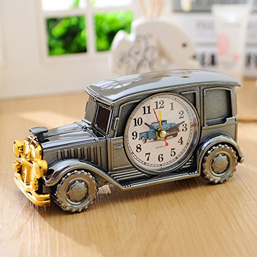 Heylookhere Quiet and Practical Creative Lovely Retro Car Model Alarm Clock Decoration Gift