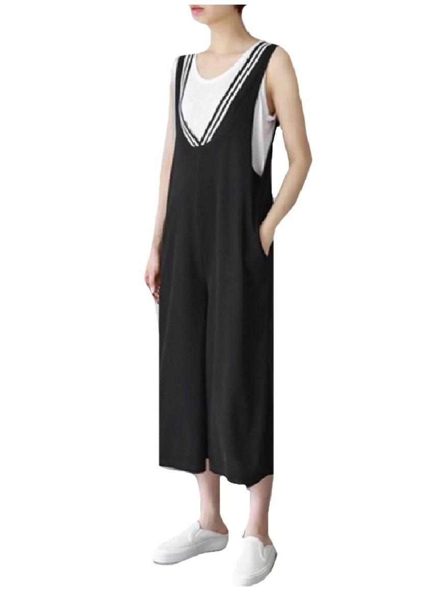 Vska Women Palazzo Wide Leg Striped Fine Cotton Bib Overalls Pants Black L