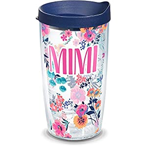 Tervis 1314920 Mimi Dainty Floral Insulated Travel Tumbler with Wrap and Navy Blue Lid, 16 oz - Tritan, Clear