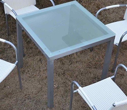 Mesa MALLORCA-80, aluminio, cristal blanco 80x80 cms ...