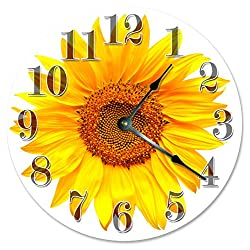 Large 10.5 Wall Clock Decorative Round Wall Clock Home Decor Novelty Clock YELLOW SUNFLOWER