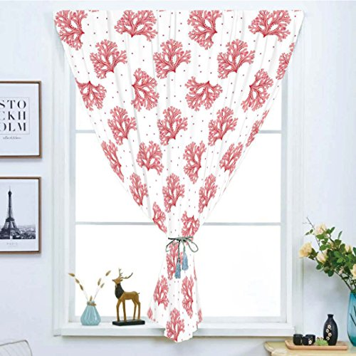 (iPrint Blackout Window Shades,Free Punching Magic Stickers Curtain,Coral,Underwater Theme Seaweeds and Dots Algae Tropical Ocean Life Aquatic Artwork,Coral Red White,Paste Style,for Living Room)
