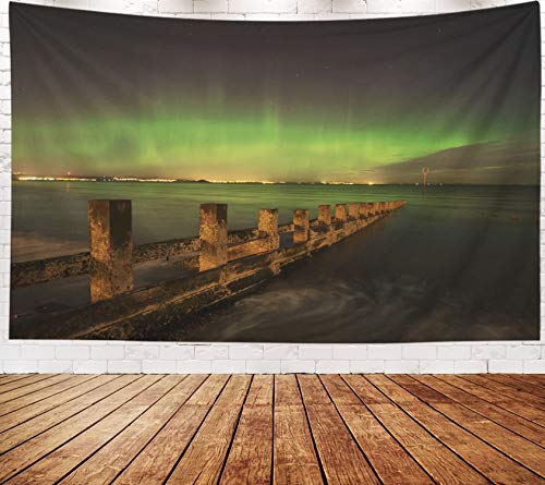 (Yecationy Beach Tapestry, Tapestry Psychedelic Tapestry 80x60 Inch Aurora Borealis Captured from Beach in Edinburgh Tapestry Wall Hanging Living Room Decoration)