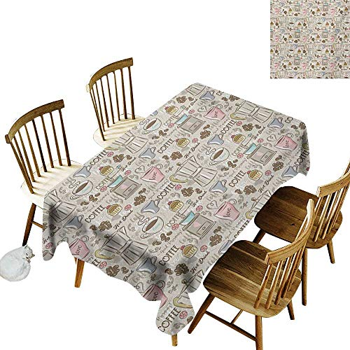 - Hall Rectangular Tablecloth W54 x L90 Modern Coffee Time Vintage Espresso Machine Cupcakes Beans Cute Design Beige Pale Pink and Umber Great for Bar More