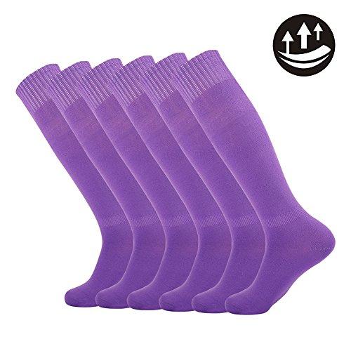 Dodove Unisex Knee High Soccer Football Sport Tube Tripe Stripe Socks,3/6/12 Pairs