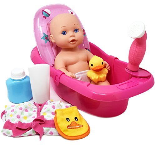 "Baby Doll Bathtub Set Featuring 12"" All Vinyl Doll, Bath Tub with Detachable Shower Spray, Washcloth, Toy Soap Bottle and Shower Gel, and Rubber Duck, The Best Doll Bath Toy Set for Kids"