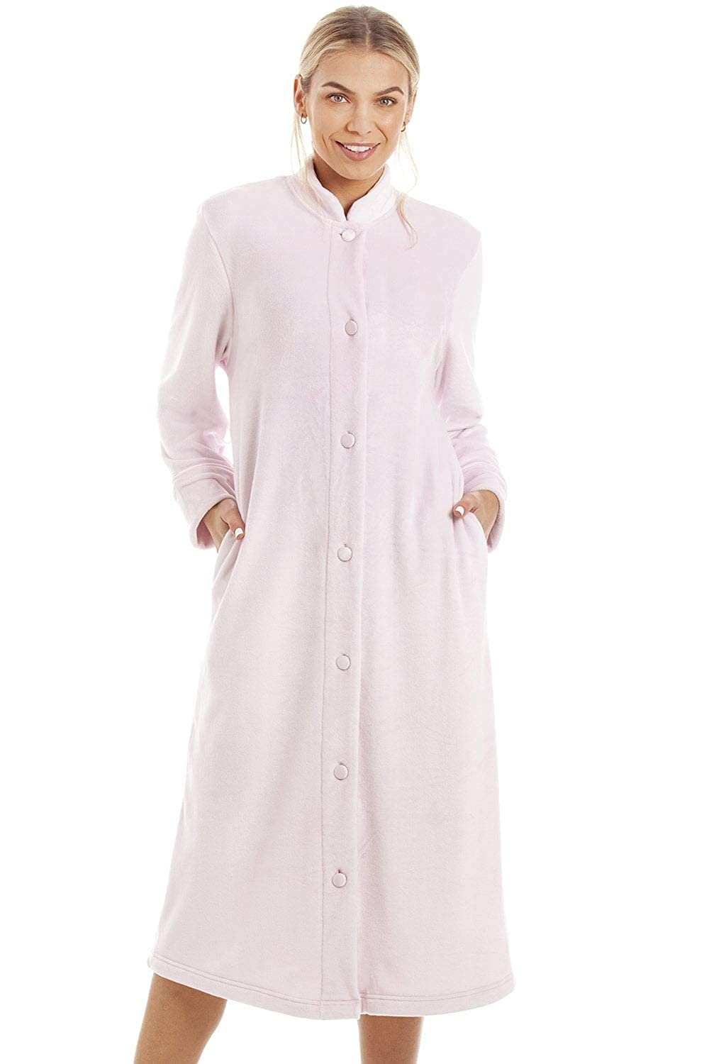 ddf98dbc53 Camille Womens Zip or Button Front Dressing Gown House Coat 16 18 Pink  Button  Camille  Amazon.co.uk  Clothing