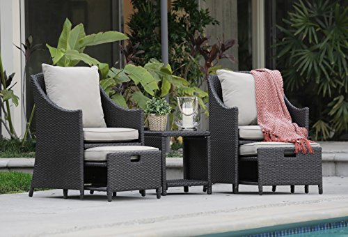 Serta Laguna Outdoor 5 Piece Set Brown Wicker with Beige (Outdoor Chair Ottoman)
