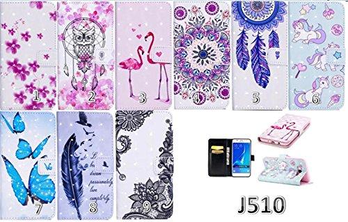 Samsung Pu Per gufo Caso Portafoglio Galaxy Dipinto Protettiva 3d J3 j3 Con Compatibile slot Campanule Creativo Flip Design In Schede Modello Custodia Pelle 2016 uposao Cover kickstand 6fw1Eq4U4