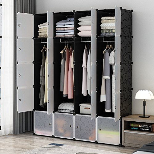 KOUSI Portable Closet Clothes Wardrobe Bedroom Armoire Storage Organizer with Doors, Capacious & Sturdy, Black, 8 Cubes+4 Hanging Sections