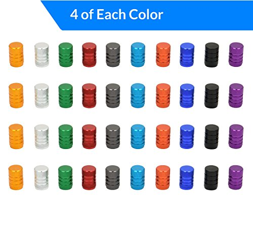Domain Cycling 40pcs Schrader Tire Valve Caps, Knurled Multi-Color Anodized Machined Aluminum Alloy Bicycle Bike Tire Valve Caps Dust Covers by Domain Cycling (Image #2)