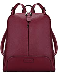 S-ZONE Women Genuine Leather Backpack Purse Travel Bag Fit 14-inch Laptop Upgraded Version