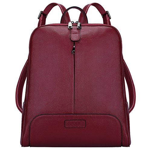 Leather Backpack Purse Travel Bag Fit 14 inch Laptop Upgraded 3.0Upgraded 3.0 (Wine Red) ()