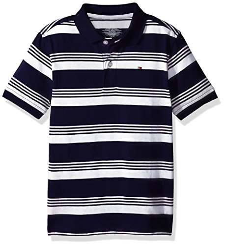 14564fd6a Galleon - Tommy Hilfiger Little Boys' Short Sleeve Striped Polo Shirt, Swim  Navy, 5