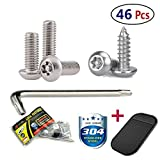 License Plate Screws Stainless Steel Anti Theft Tamper Resistant Bulk Kit for License Plates Security and Covers (46 Pc)