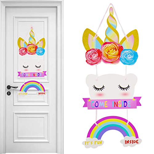 Formemory Magical Unicorn Door Hanger Unicorn Decorations for Birthday Party -