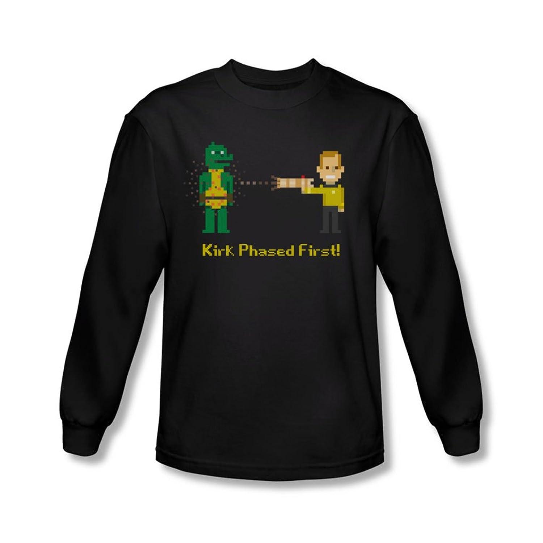 Star Trek - Mens Kirk Phased First Long Sleeve Shirt In Black