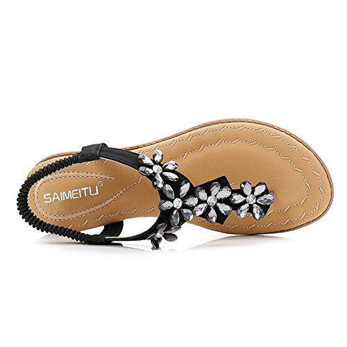 Aqua Summer Bohemia Female Sandals Flats Sandy Beach Clipping Toes Black Td78ddRo