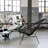 Tutti Decor Indoor Outdoor Matt Black Classic Mexico String Chair, Stackable. Designed by Bahne.