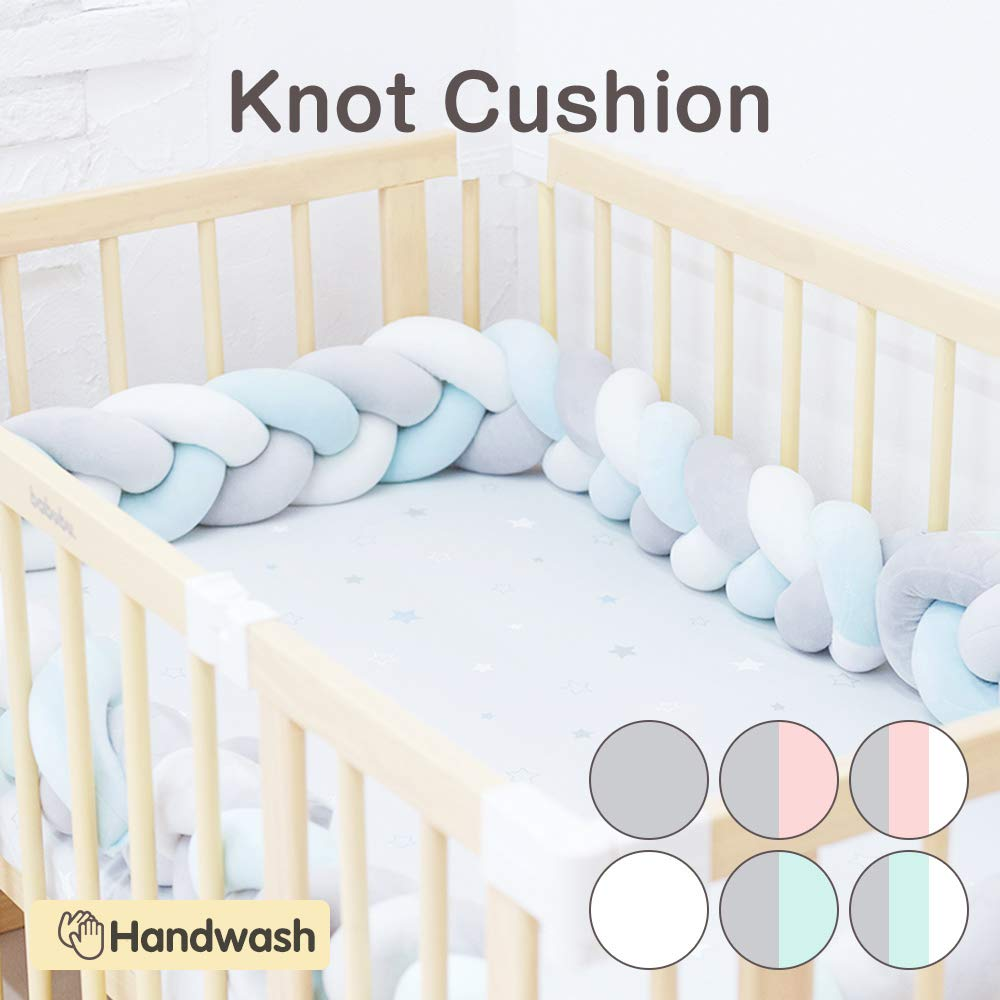 Wonder Space Soft Knot Plush Pillow Fashion Nursery Cradle Decor For Baby Toddler and Childern Pink//Grey//White, 2 Meters 2 Meters Baby Crib Bumper