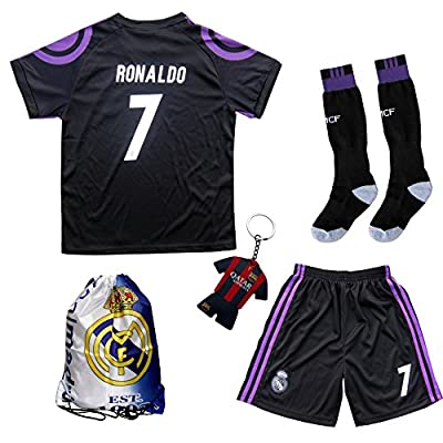 2016/2017 Real Madrid RONALDO #7 Third Black Soccer Kids Jersey & Short & Sock & Soccer Bag Youth Sizes