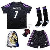 2016/2017 Real Madrid RONALDO #7 Third Black Soccer Kids Jersey & Short & Sock & Soccer Bag Youth Sizes (11-12 YEARS)