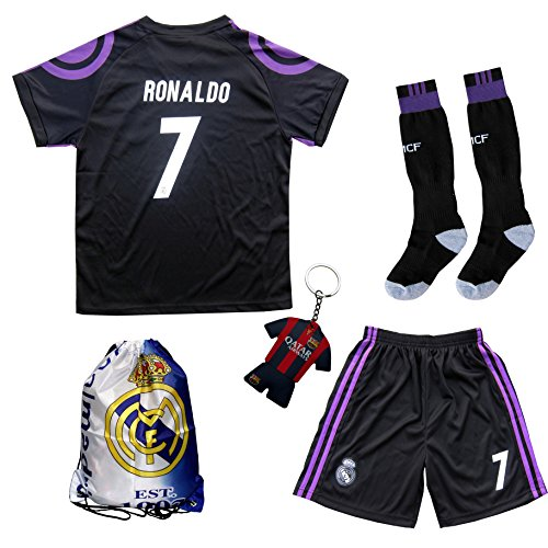 2016 2017 Real Madrid Ronaldo  7 Third Black Soccer Kids Jersey   Short   Sock   Soccer Bag Youth Sizes  7 8 Years