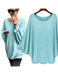 Changeshopping Women Oversized Batwing Knitted Pullover Loose Sweater Free size