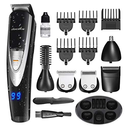 MIGICSHOW Electric Beard Trimmer for men -12 in 1 Multi-functional Mustach Grooming Kit for Full size trimmer, Shaver and Body trimmer, Waterproof Rechargeable with LED Display Application of 100-240V ()