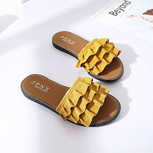 ITTXTTI Zapatillas de Verano Femenino Desgaste Moda Salvaje Estudiante Sandalias y Zapatillas Mujeres Planas con una Palabra Drag Playa Zapatos Moda Simple C