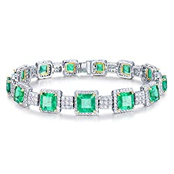 White Yellow Gold Diamond Emerald Bracelet