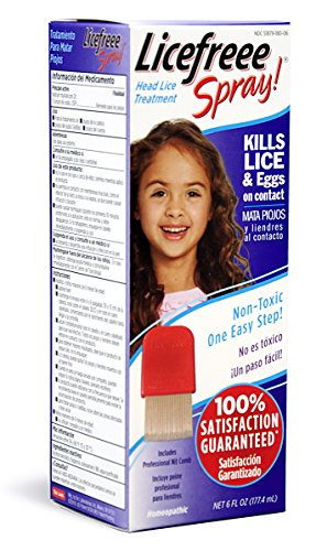 Licefreee Spray Head Lice Treatment (Kills Lice and Eggs on Contact) Includes Professional Metal Nit Comb, 6 Ounce - Permethrin Head Lice