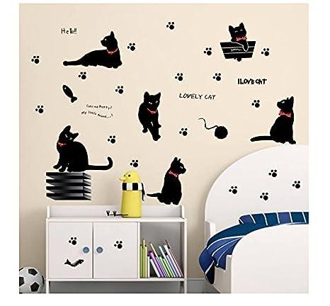 LA VIE - Pegatinas para pared con motivo de gatos y patas de gato, dibujo magnífico, dibujo gracioso, Decoración adhesiva de pared: Amazon.es: Hogar