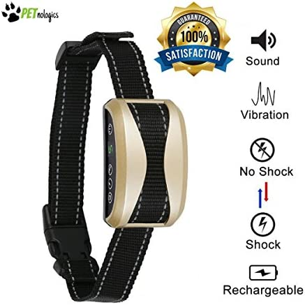Bark Collar for Dogs 2018 New Tech PETnologics – No Bark Collar , Shock Vibration Sound with 7 Sensitivity Adjustable Control Levels Dog Training Collar For Small , Medium , Large Dogs