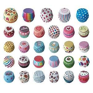 TININNA 100 Pieza Moldes Cajas Papel Copa de Horneado Cápsulas Vistoso para Hornear Magdalenas Pastel Tarta Cupcakes Chocolate gélee etc