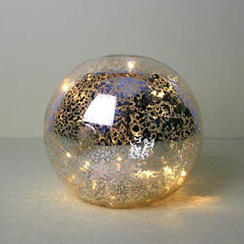Lit Mercury Glass Ball | Sphere Gazing Ball6.5