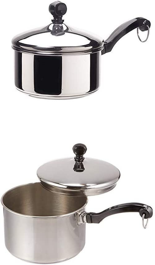 Farberware Classic Series Stainless Steel 1-Quart Covered Saucepan with Farberware Classic Stainless Steel 2-Quart Covered Saucepan