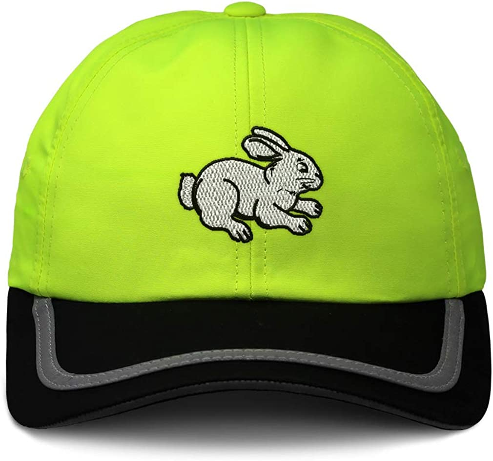 Custom Reflective Running Hat Sitting Rabbit Black Outline Embroidery One Size