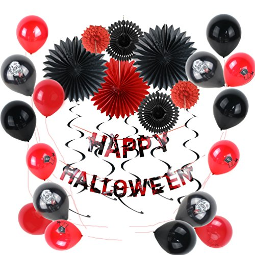 (Halloween Decoration Kit Black Red Paper Pinwheels Scary Printed Latex Balloons Bloody Happy Halloween Banner Party Supplies SUNBEAUTY 38)