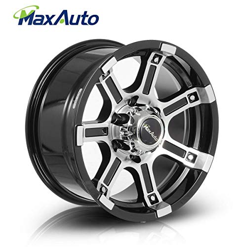 MaxAuto 1 pcs 16x8, 6x139.7, 108.1, 10, Black Machined Rims Alloy Wheels compatible w/ 1995-2017 Toyota Tacoma 1995-2006 Chevrolet Tahoe 1986-2002 Toyota 4Runner 1987-2004 Nissan Pathfinder (Nissan Frontier Wheel Alloy)