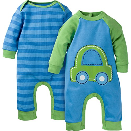 Gerber Baby-Boys Newborn Car 2 Pack Coverall, Car Blue, 6-9 Months